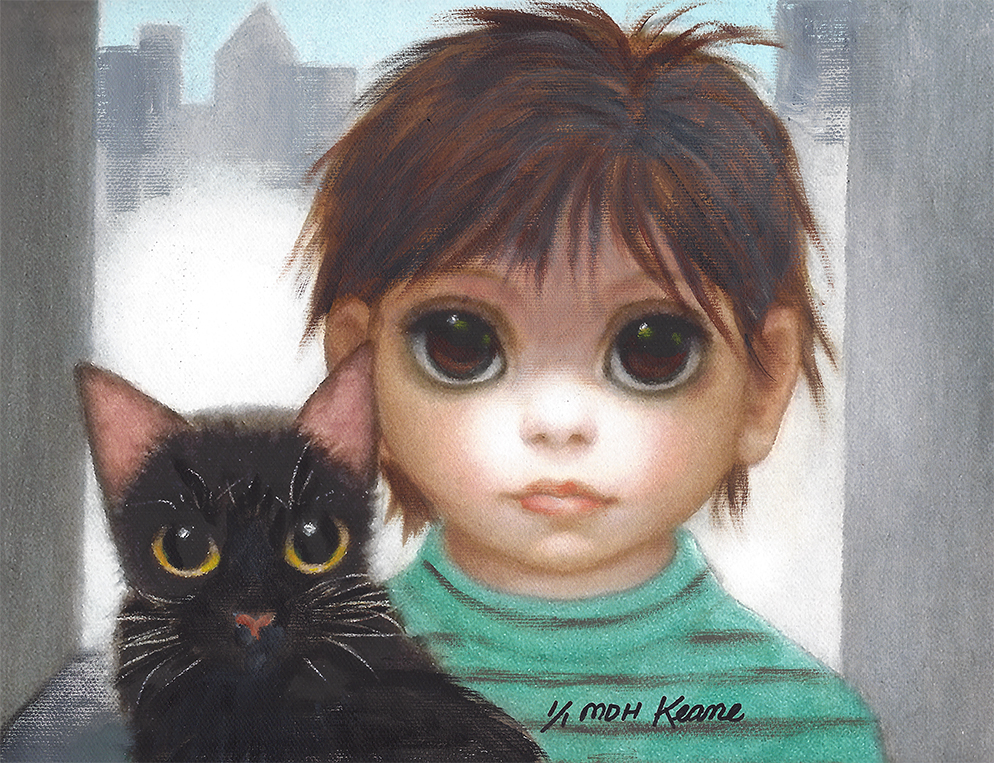 child with blk cat