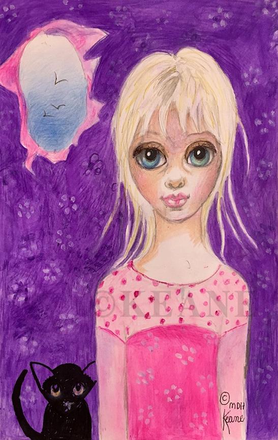 girl in purple room